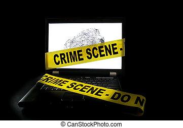 ラップトップ, それ, 現場, コンピュータ, テープ, 犯罪, 横切って