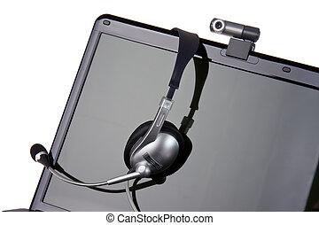 ラップトップ, ∥で∥, ヘッドホン, そして, webcam