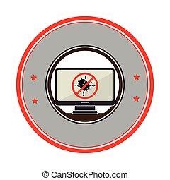 ラップトップ, ウイルス, 禁止された, かぶと虫, 技術, ボーダー, 円