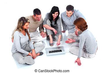 ラップトップ, グループ, computer., 人々