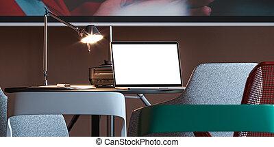 ラップトップ, スクリーン, ∥あるいは∥, プロジェクター, 会議室, cafe., 現代, rendering., ブランク, 下に, 机, 現実的, 3d