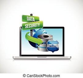 ラップトップ, セキュリティー, データ, 保護, サーバー