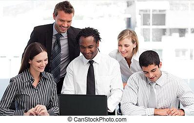 ラップトップ, チーム, ビジネス, 仕事, 多民族