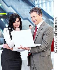 ラップトップ, ビジネス, computer., 人々