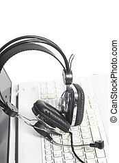 ラップトップ, ヘッドホン, コミュニケーション, コンピュータ, keyboard., 概念