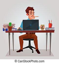 ラップトップ, ベクトル, イラスト, 仕事, 人