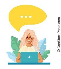 ラップトップ, ベクトル, オンラインで, 泡, 概念, 教育, テーブル。, リモート, 女の子, text., フリー, イラスト, work., 漫画, スピーチ, 隔離された, モデル, white., 場所, 訓練