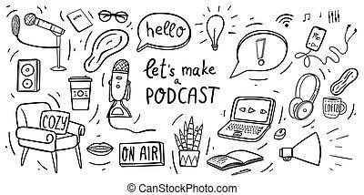 ラップトップ, マイクロフォン, コーヒー, smartphone, houseplant., 印, ∥ましょう∥, 大袈裟な表情をしなさい, 作りなさい, podcast, 空気, 手, 叫びなさい, 肘掛け椅子, ヘッドホン, doodles, 引かれる, ヘッドホン, 保温カバー