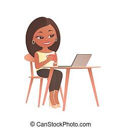 ラップトップ, モデル, テーブル, コンピュータ, 女の子