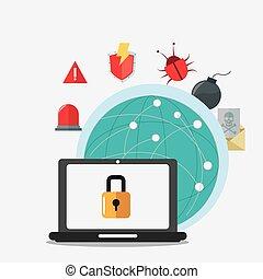 ラップトップ, 世界的である, cyber, セキュリティシステム, デザイン