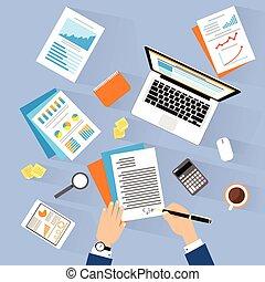ラップトップ, 人, 署名, 角度, オフィス, ビジネス, モデル, 合意, 仕事, の上, 契約, 仕事場, の上, 机, ビジネスマン, 文書, 平面図