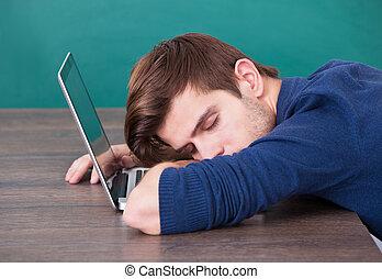 ラップトップ, 人, 若い, 睡眠