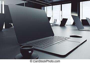 ラップトップ, 光景, 側, 空, デスクトップ