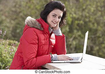 ラップトップ, 女, コンピュータ, 若い