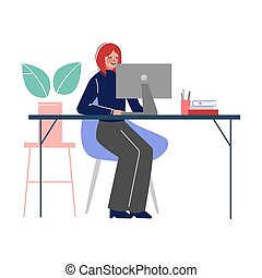 ラップトップ, 女, ベクトル, モデル, イラスト, テーブル, 仕事, コンピュータ, オフィス