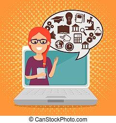 ラップトップ, 女, 教育, 教師, オンラインで