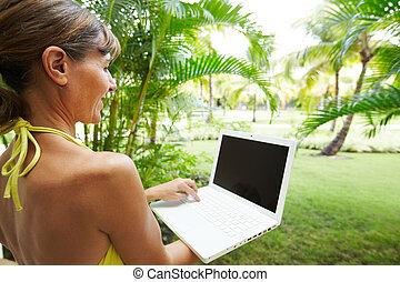 ラップトップ, 女, computer.