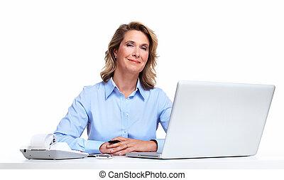 ラップトップ, 女, computer., ビジネス