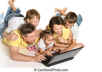 ラップトップ, 家族, 床