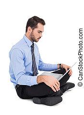 ラップトップ, 床, 使うこと, ビジネスマン, 朗らかである, モデル