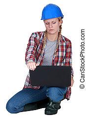 ラップトップ, 建設, 労働者, 女性