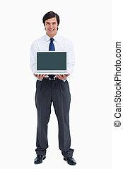 ラップトップ, 彼の, スクリーン, 商人, 提出すること, 微笑