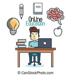 ラップトップ, 教育, オンラインで, 人, 机