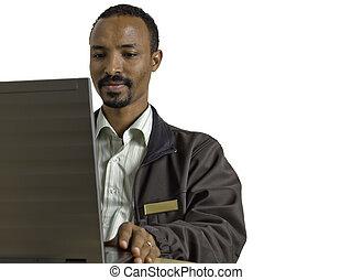 ラップトップ, 若い, 多様, 人, 机, 使うこと, 座る, 幸せ