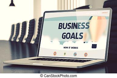 ラップトップ, concept., 3d., ゴール, ビジネス