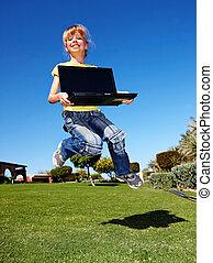 ラップトップ, outdoor., 子供