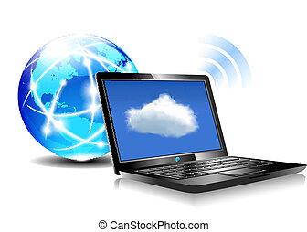 ラップトップ, wifi, 接続, 雲