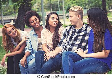 ラテン語, グループ, 成人, 若い, アメリカ人, アフリカ, 冷えること