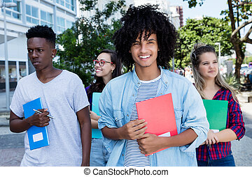 ラテン語, グループ, internternational, 生徒, アメリカ人, 笑い, 学生