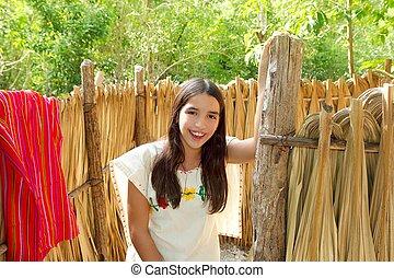 ラテン語, メキシコ人, 家, mayan, indian, ジャングル, 女の子, キャビン