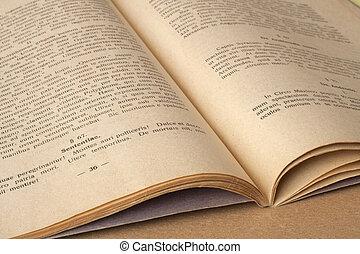 ラテン語, 古い, 言語, -, 本, 開いた