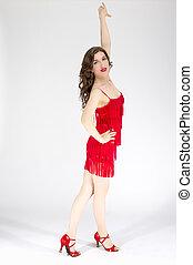 ラテン語, 舞踏会場, pose., 女性, ダンス, アメリカ人, サンバ, white., デモをする, 流れること, program., 服, ダンサー, 赤