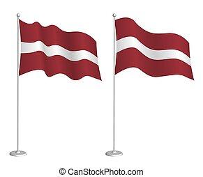 ラトビア, チェックポイント, flagpole, element., ベクトル, 旗, 白, wind., 背景, ...