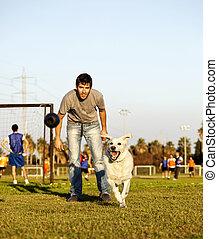 ラブラドル, そして, トレーナー, ∥で∥, 犬, おもちゃをかみなさい, ∥において∥, 公園