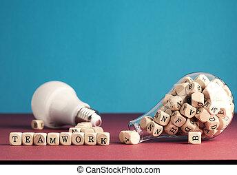 ラベルをはられた, ブロック, チームワーク, 木製である, 電球, ライト, alphabetically, 概念, たくさん