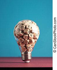 ラベルをはられた, 立方体, 木製である, 電球, ライト, alphabetically, たくさん