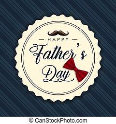 ラベル, カード, 父, 幸せ, 日, 口ひげ, 型