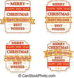 ラベル, クリスマス, ベクトル