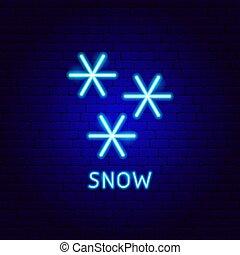 ラベル, ネオン, 雪
