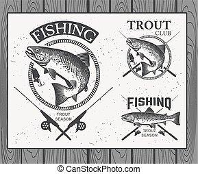 ラベル, マス, 要素, デザイン, 釣り, 型, 紋章