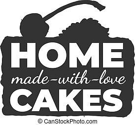 ラベル, 手製, 型, ケーキ