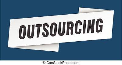 ラベル, 旗, 印, template., outsourcing, リボン