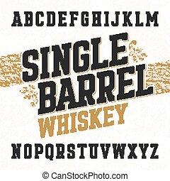 ラベル, 樽, 壷, 単一, ウイスキー
