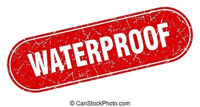ラベル, 防水, 印。, レッドグランジ, stamp.