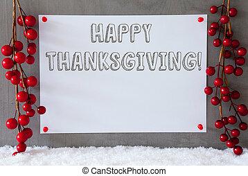 ラベル, 雪, 装飾, テキスト, 幸せ, 感謝祭