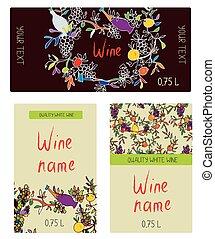 ラベル, -, 面白い, セット, desig, ワイン
